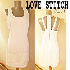 Lovestitch strappy white midi dress. Sz Sm